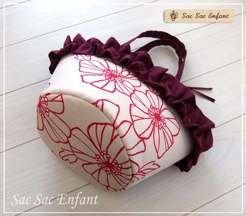 画像2: Sac de panier サックドパニエ(カゴ型ショルダーバッグ)Cotton rose(コットンローズ) エンジ&フリル Mサイズ