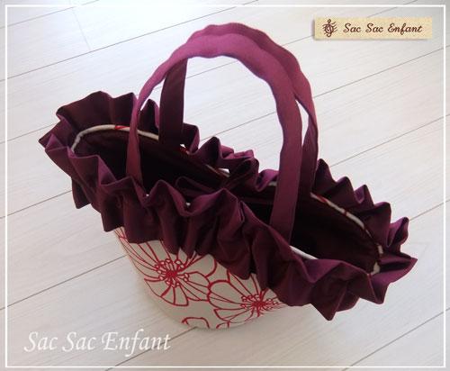 画像3: Sac de panier サックドパニエ(カゴ型ショルダーバッグ)Cotton rose(コットンローズ) エンジ&フリル Mサイズ