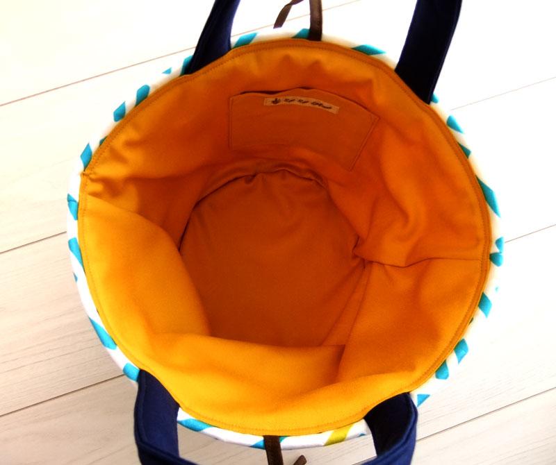 画像4: お家で洗える Sac de panier サックドパニエ(カゴ型バッグ)Ligne(リーニュ)スカイブルー×マスタード Sサイズ