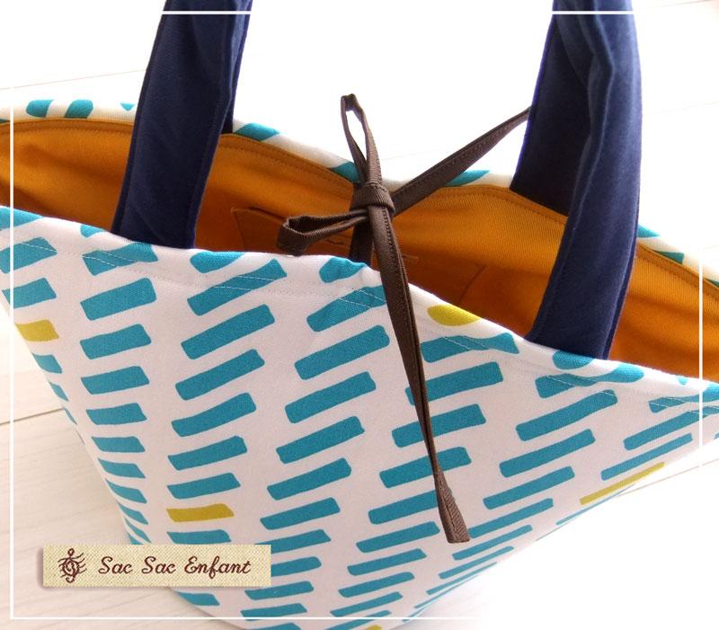 画像3: お家で洗える Sac de panier サックドパニエ(カゴ型バッグ)Ligne(リーニュ)スカイブルー×マスタード Sサイズ
