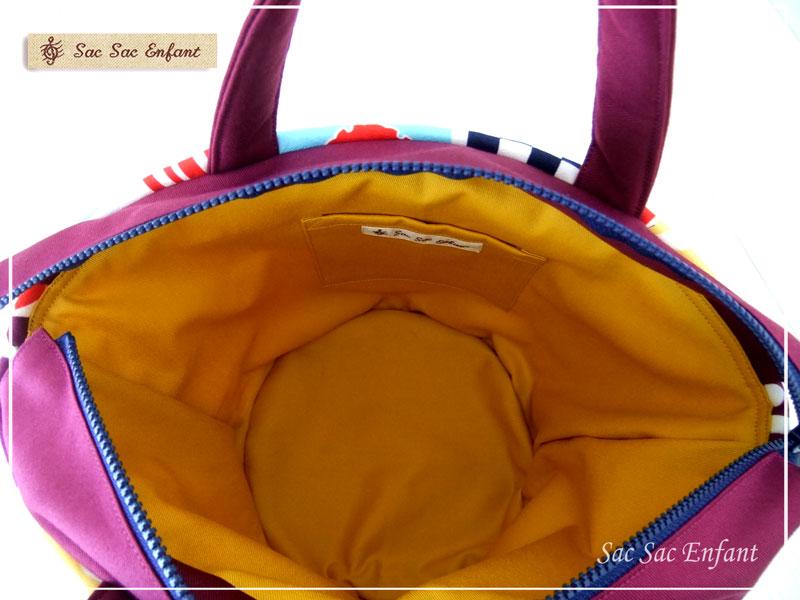 画像4: 【特別価格品(期間限定)】Sac de panier サックドパニエ(カゴ型バッグ)Wa-Retro(和レトロ)パープル S・ファスナー