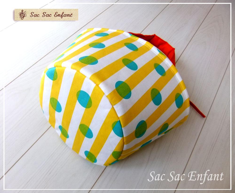 画像2: 【特別価格品(期間限定)】Sac de panier サックドパニエ(カゴ型バッグ)Dot-Stripes(ドット・ストライプ)イエロー×グリーン Sサイズ