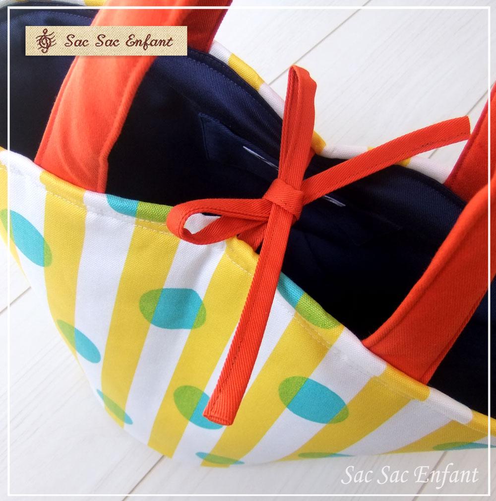 画像3: 【特別価格品(期間限定)】Sac de panier サックドパニエ(カゴ型バッグ)Dot-Stripes(ドット・ストライプ)イエロー×グリーン Sサイズ