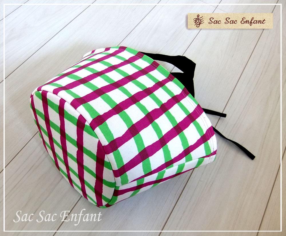 画像4: お家で洗える Sac de panier サックドパニエ(カゴ型バッグ)Crayon-Check(クレヨン・チェック)グリーン×パープル Sサイズ