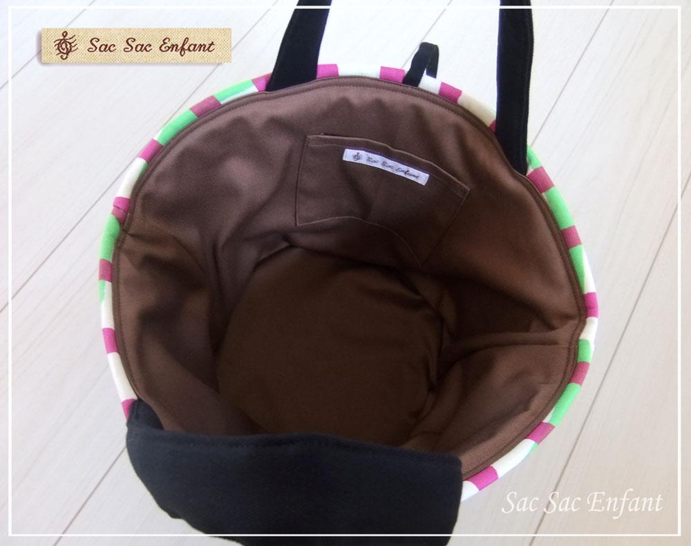 画像3: お家で洗える Sac de panier サックドパニエ(カゴ型バッグ)Crayon-Check(クレヨン・チェック)グリーン×パープル Sサイズ