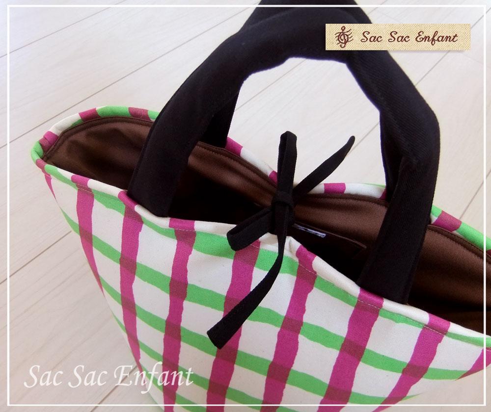 画像2: お家で洗える Sac de panier サックドパニエ(カゴ型バッグ)Crayon-Check(クレヨン・チェック)グリーン×パープル Sサイズ