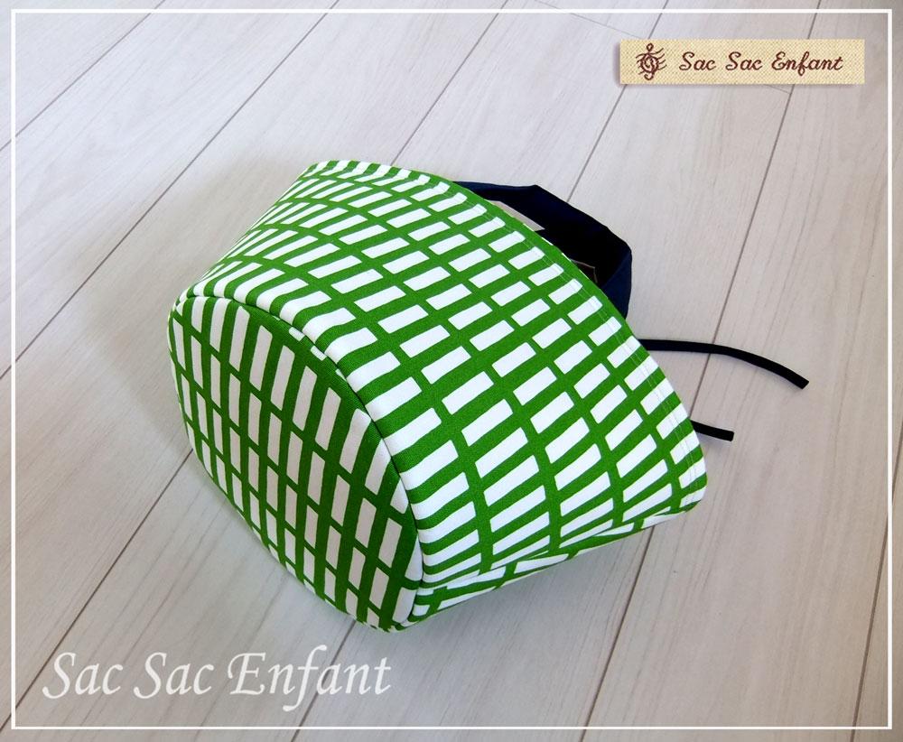 画像2: 【特別価格品(期間限定)】Sac de panier サックドパニエ(カゴ型バッグ)Treillis(格子・トレイリー)グリーン×オレンジ Sサイズ