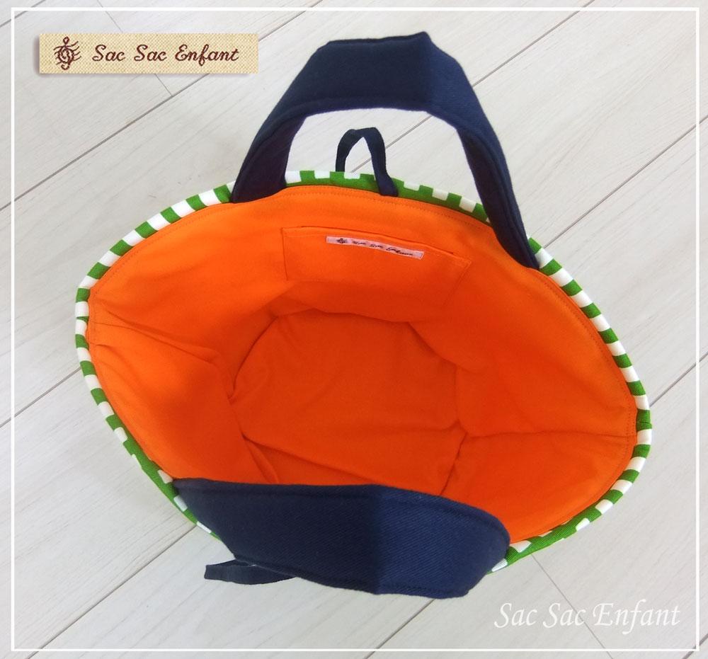 画像4: 【特別価格品(期間限定)】Sac de panier サックドパニエ(カゴ型バッグ)Treillis(格子・トレイリー)グリーン×オレンジ Sサイズ