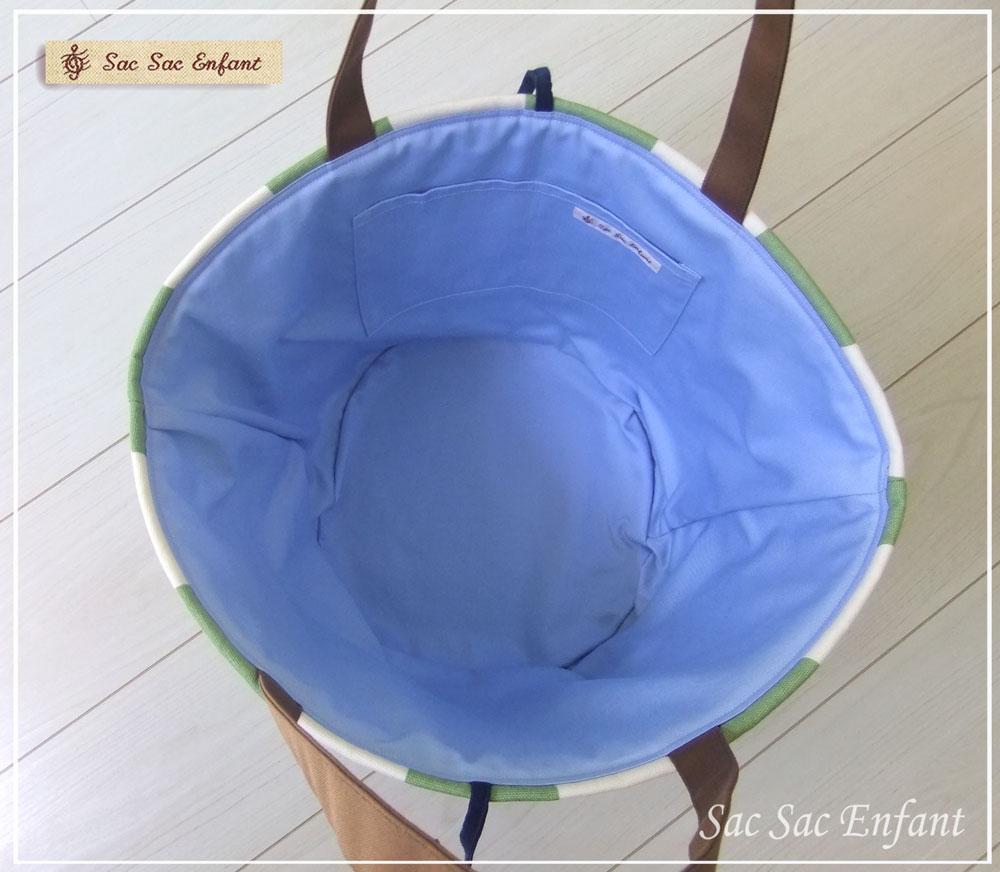 画像4: お家で洗える Sac de panier サックドパニエ(かご型ショルダーバッグ)Stripes(ストライプ)グリーン Lサイズ