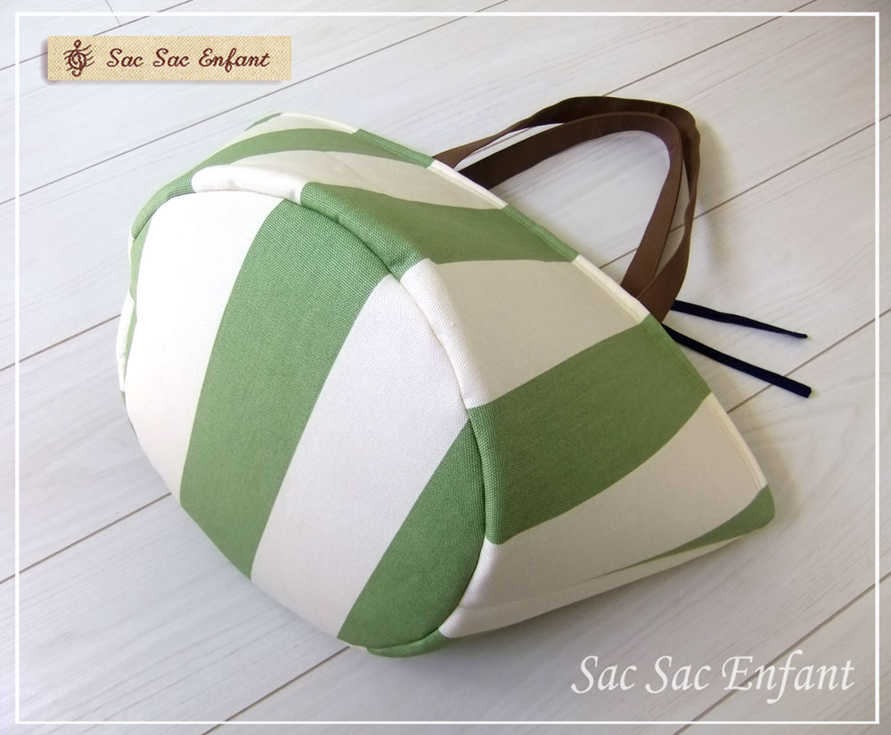 画像2: お家で洗える Sac de panier サックドパニエ(かご型ショルダーバッグ)Stripes(ストライプ)グリーン Lサイズ