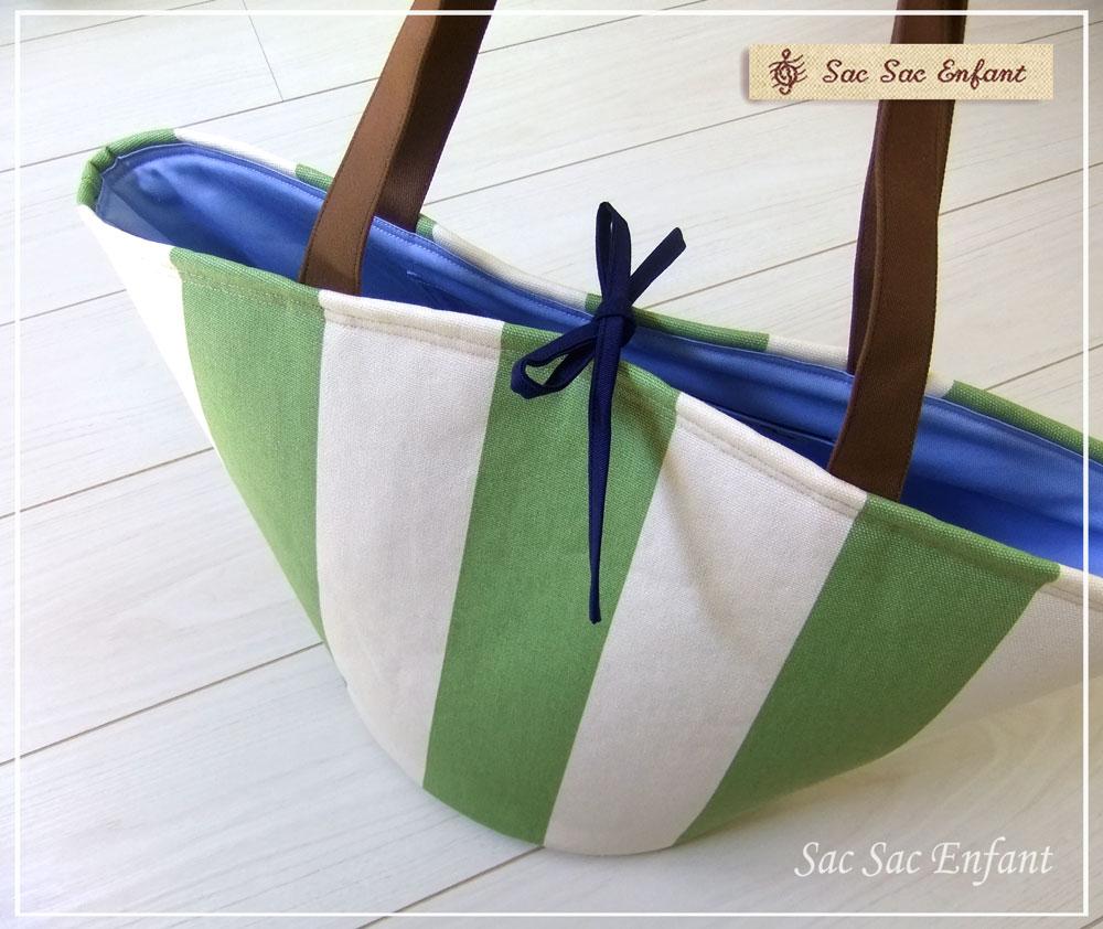 画像3: お家で洗える Sac de panier サックドパニエ(かご型ショルダーバッグ)Stripes(ストライプ)グリーン Lサイズ