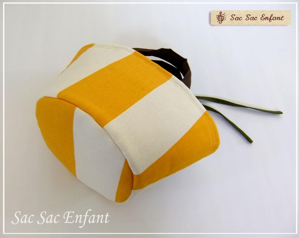 画像2: お家で洗える Sac de panier サックドパニエ(カゴ型バッグ)Stripes(ストライプ)イエロー SSサイズ