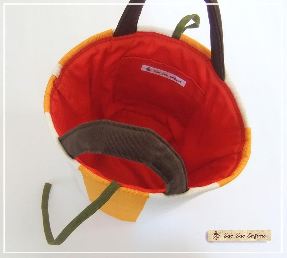 画像4: お家で洗える Sac de panier サックドパニエ(カゴ型バッグ)Stripes(ストライプ)イエロー SSサイズ