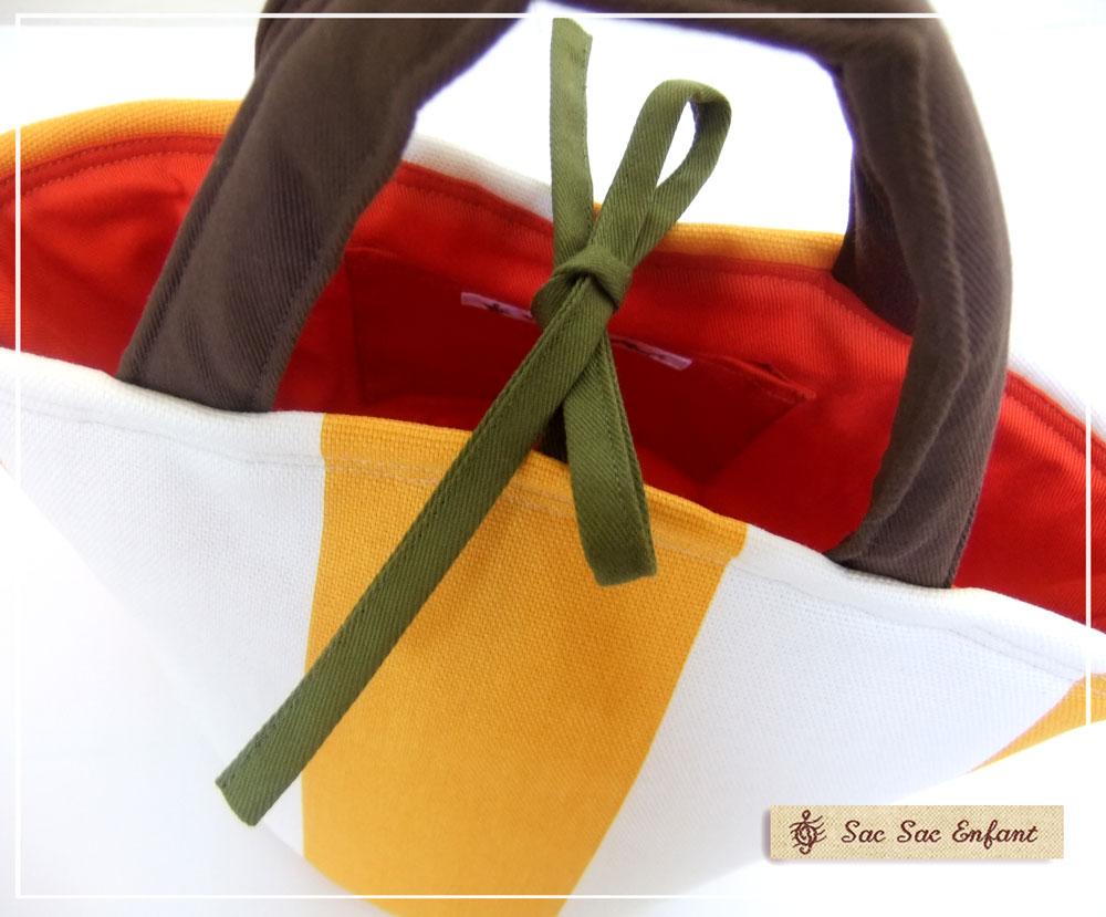 画像3: お家で洗える Sac de panier サックドパニエ(カゴ型バッグ)Stripes(ストライプ)イエロー SSサイズ