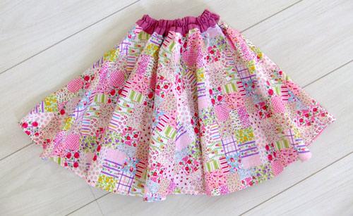 画像1: ふんわりサーキュラースカート ピンク 【110サイズ】